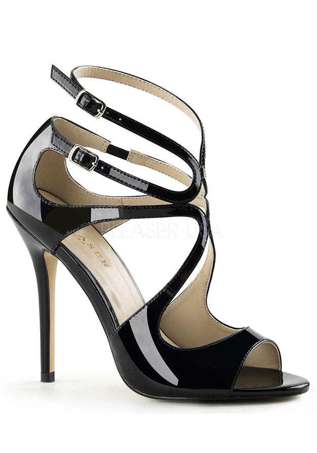 Black Patent Multi Strap Sandals