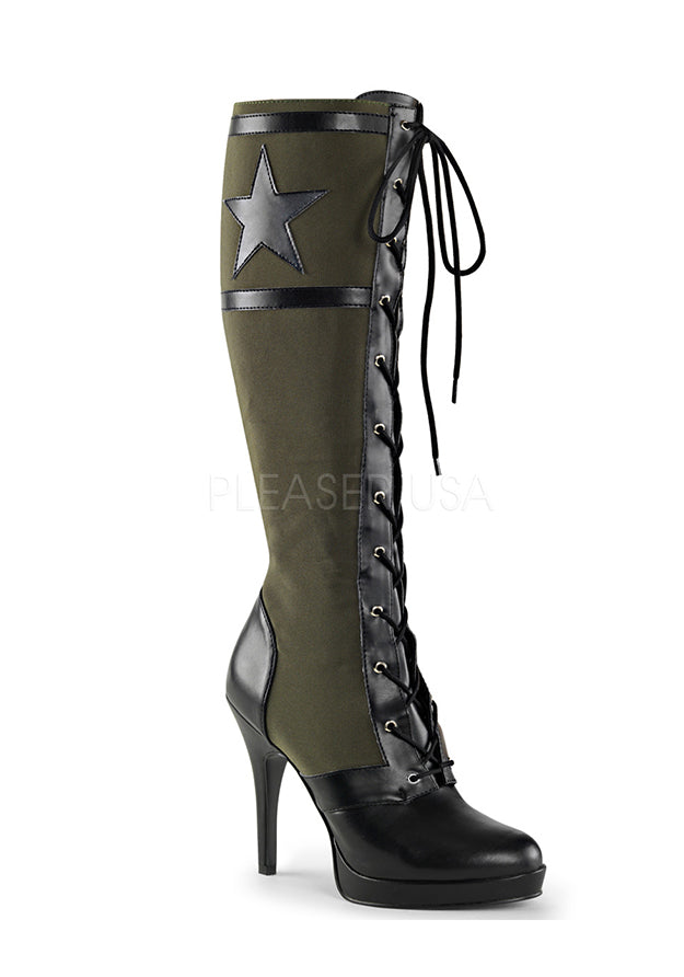Military Green Knee High Boots