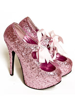 Load image into Gallery viewer, Baby Pink Glitter Ribbon Heels