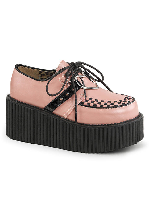 Baby Pink Vegan Leather Womens Creeper Shoes