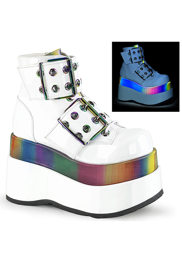 Cyber Goth Rave Platform Lace Up UV Reactive Boots