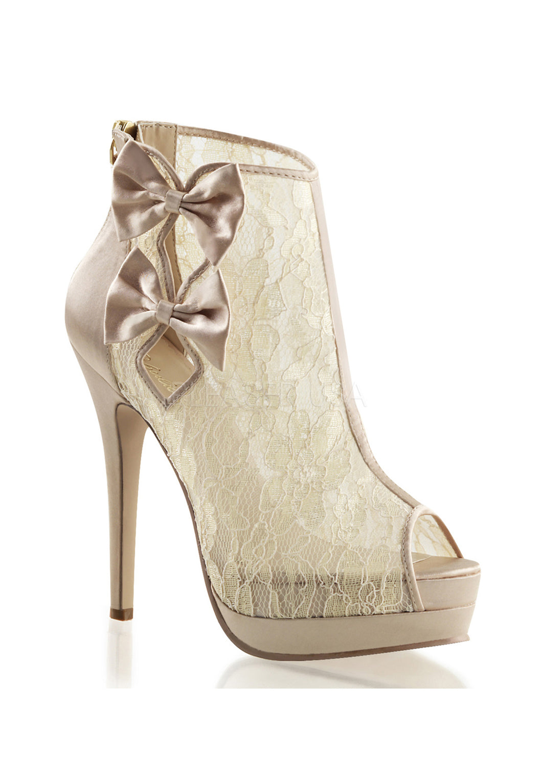 Champagne Bow Inlaid Lace Boots