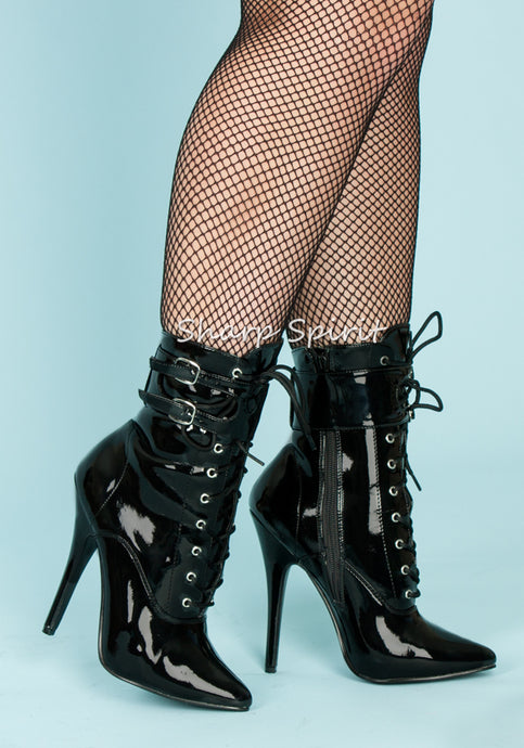 Bettie Page Style Ankle High Fetish Boots