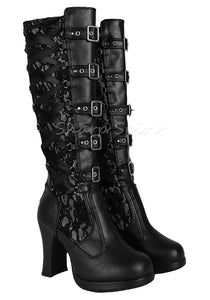 Black Corset Victorian Lace Up Military Combat Witch Womens Boots