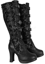 Load image into Gallery viewer, Black Corset Victorian Lace Up Military Combat Witch Womens Boots
