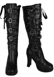 154c07f7097 Black Corset Victorian Lace Up Military Combat Witch Womens Boots