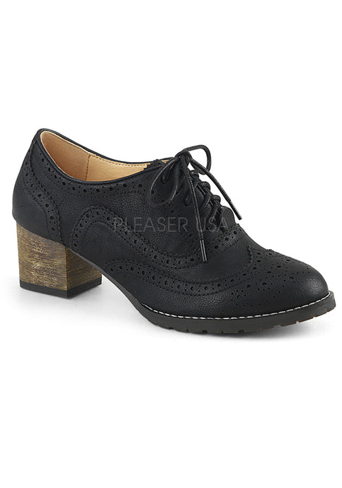 Black Faux Leather Oxford Womens Shoes