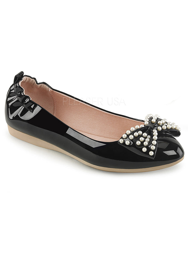 Black Patent Adult Flats with Pearls