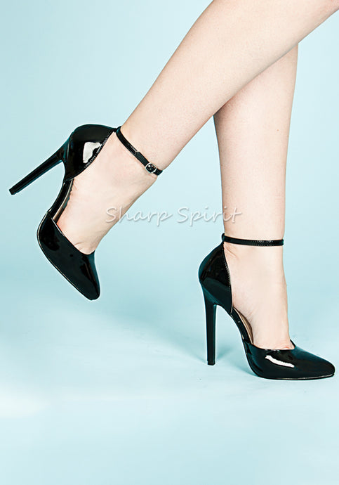 Black Patent Ankle Strap Pumps
