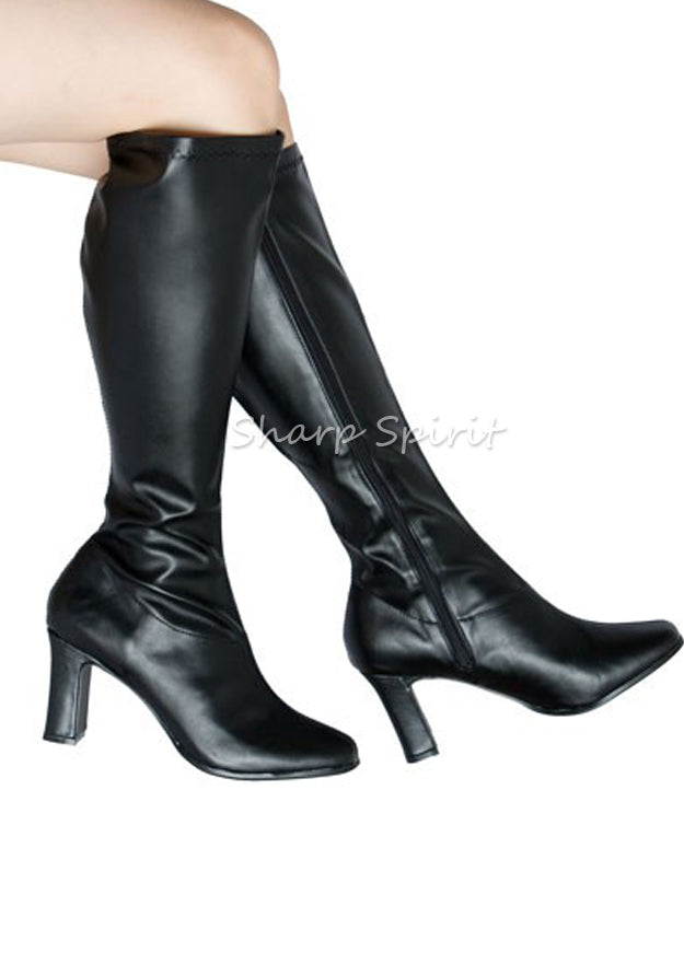 Black Retro Pointy Toe Boots