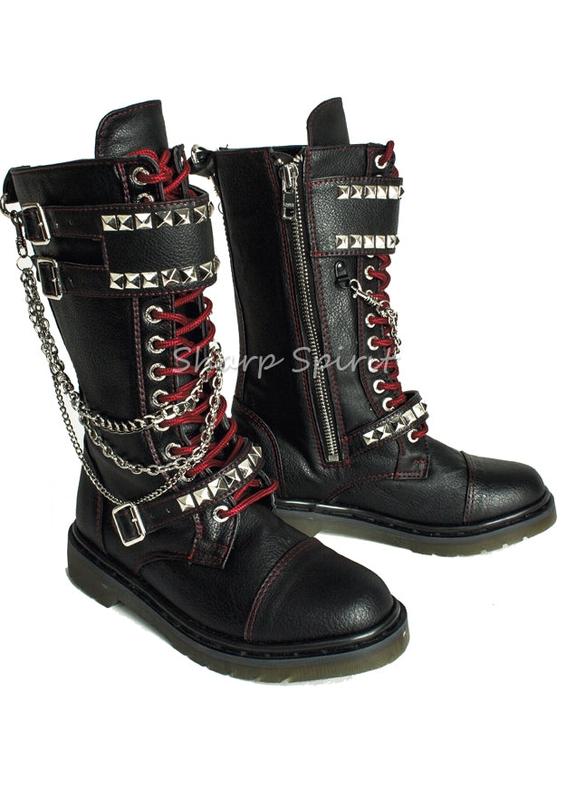 Black Rocker Boots w Red Stitching