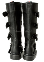 Load image into Gallery viewer, Black Vegan Leather Multi Strap Boots