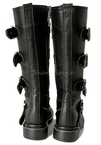 Black Vegan Leather Multi Strap Boots
