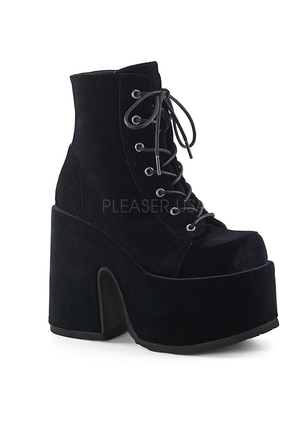 Black Velvet Ankle High Metal Boots