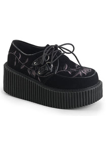 Black Velvet Flower Platform Creeper Shoes