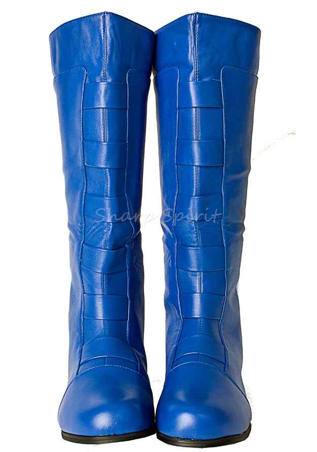 Blue Cosplay Anime Mens Knee High Boots
