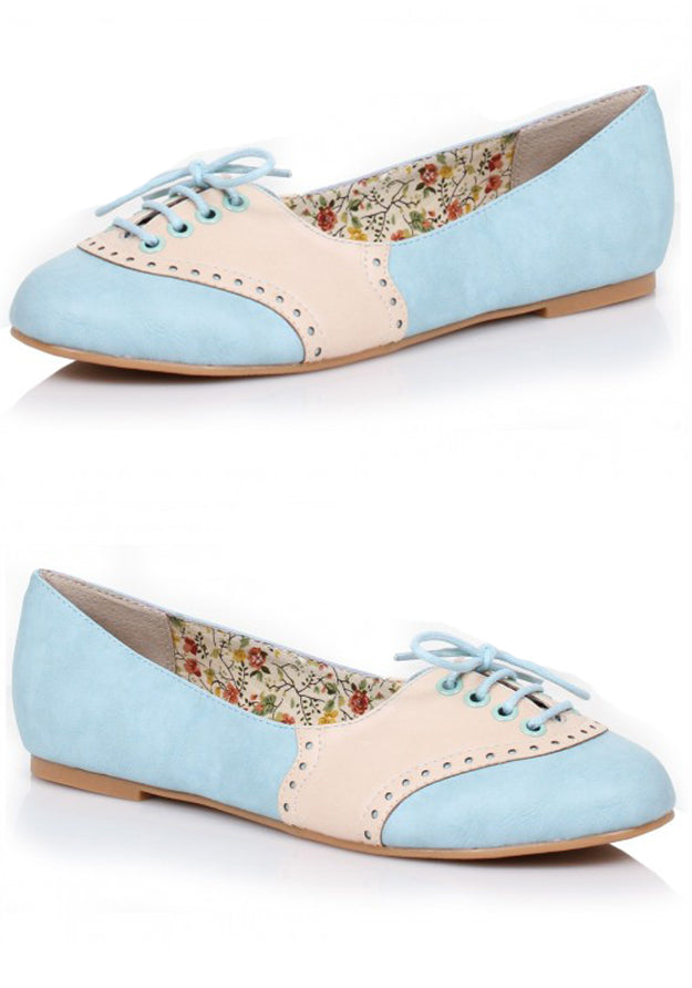Vintage Style Baby Blue Oxford Flats