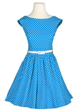 Load image into Gallery viewer, Blue & White Polka Dot Dress