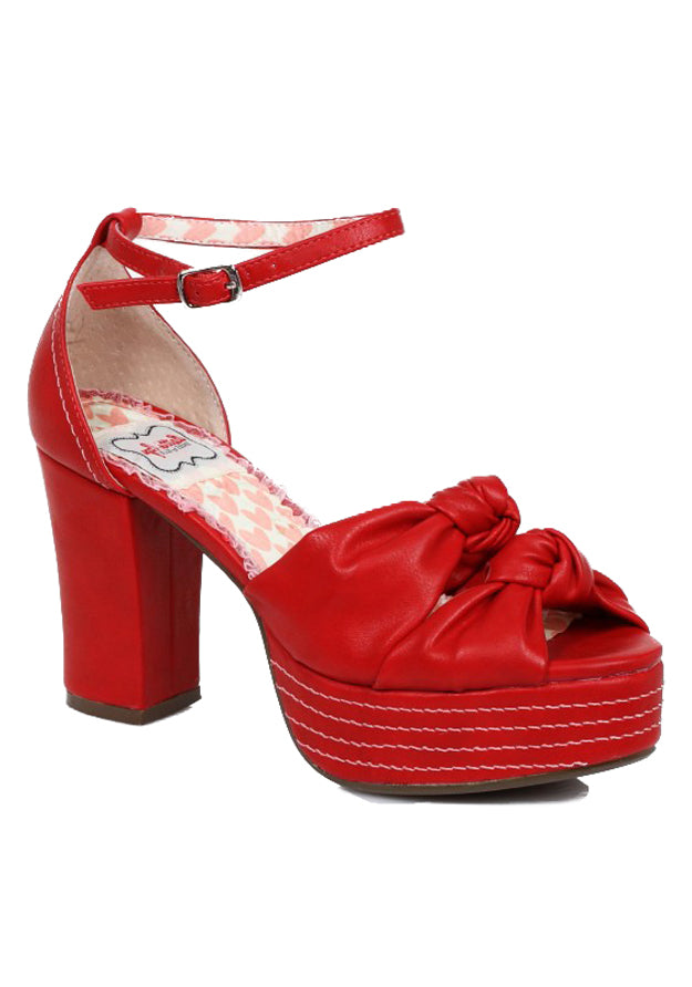 Red Retro Sandals with Knot