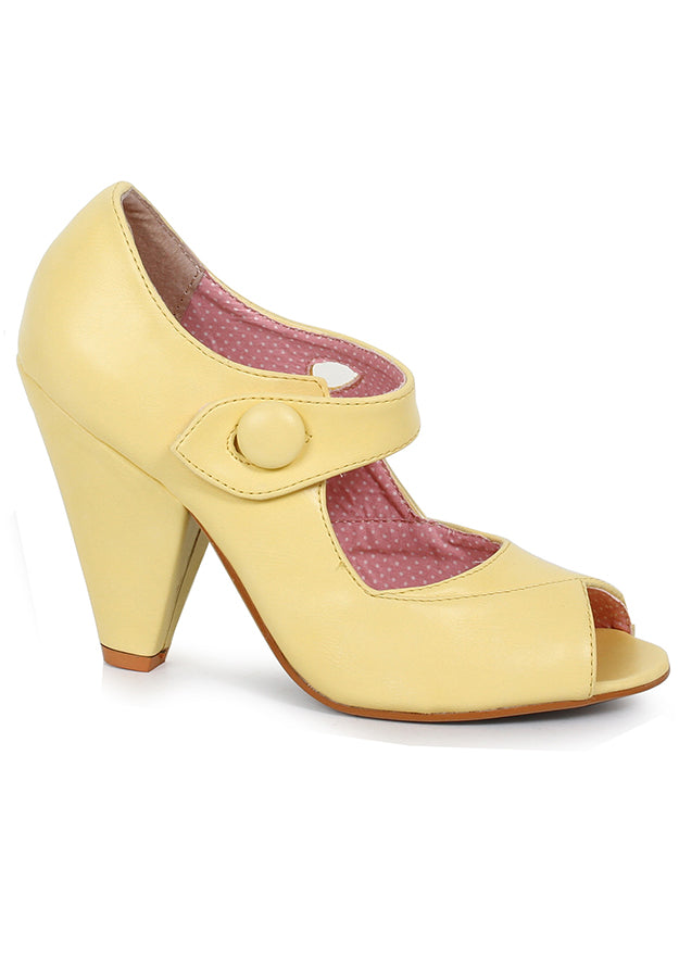 Yellow Stricken Mary Jane Heels