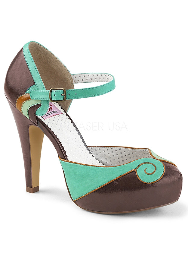 Brown & Teal Strappy D'orsay Pumps