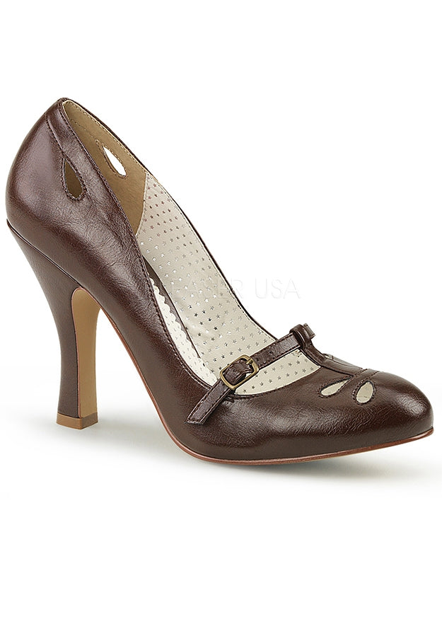 Brown Faux Leather Mary Jane Pumps
