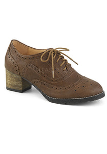 Brown Faux Leather Oxford Shoes
