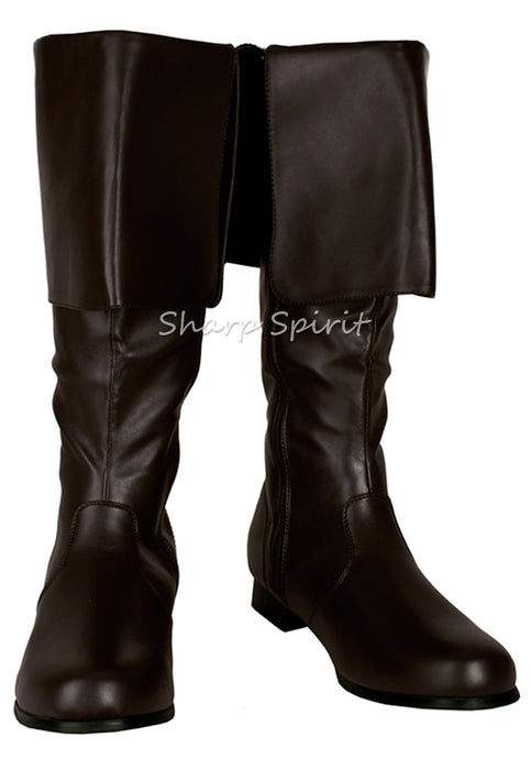 Brown Vegan Leather Mens Pirate Boots