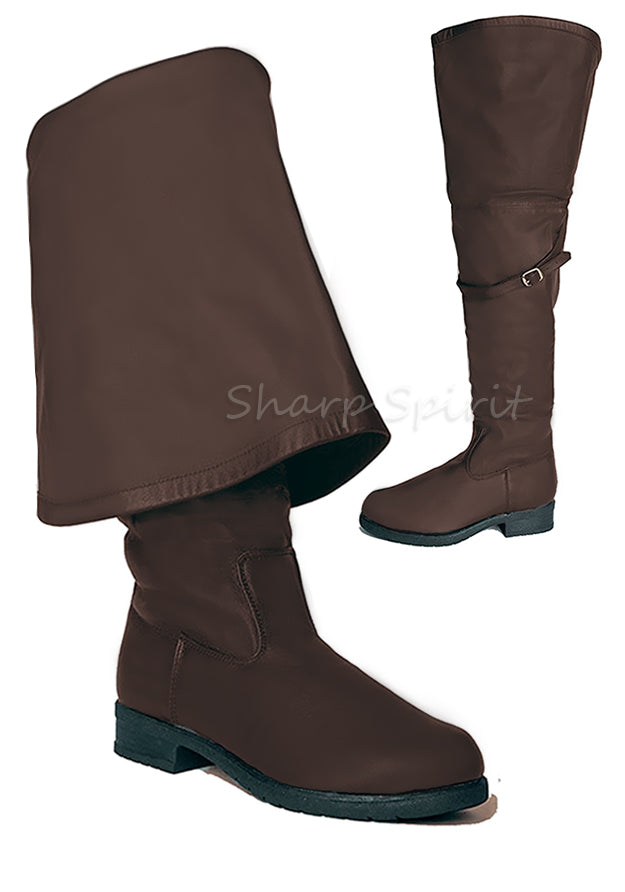 Brown Bell Cuff Pirate Boots