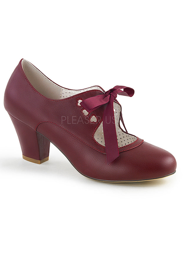 Burgundy Mary Jane Pumps w Heart