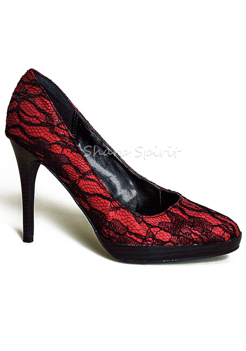 Burgundy Red & Black Lace Heel
