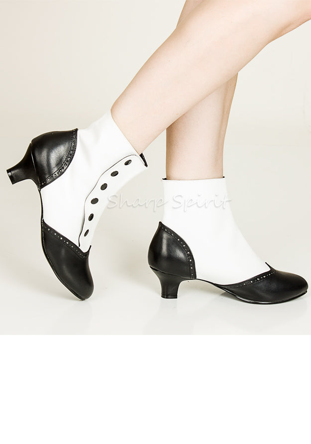 White & Black Button Ankle Booties