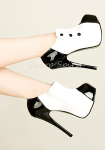 White & Black Button Steampunk Victorian Ankle Boots