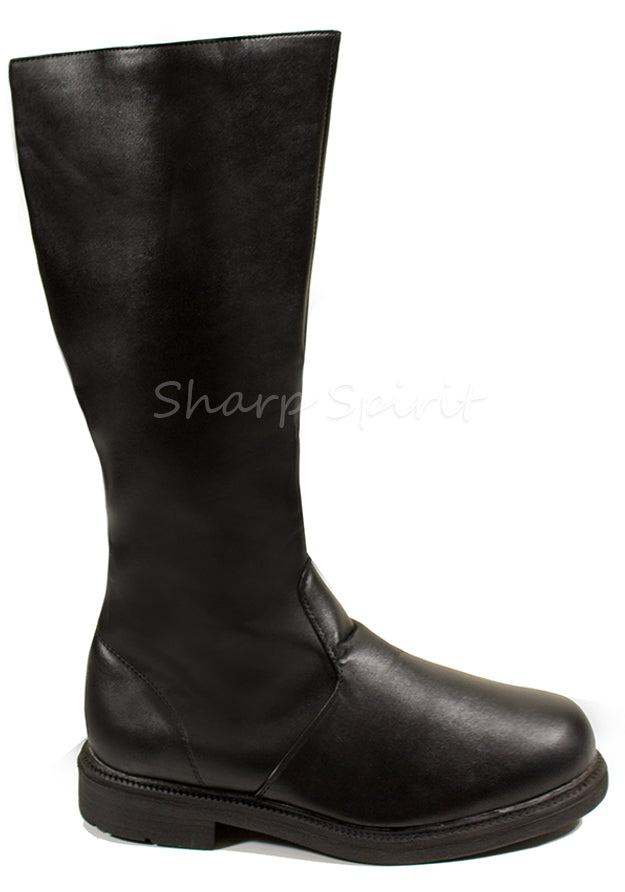 Black Pu Captain Knee High Boots
