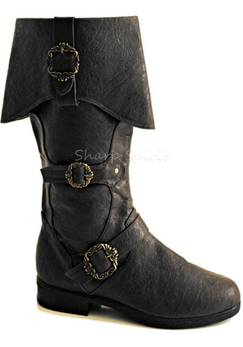 Captain Sparrow Mens Black Boots
