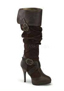 Brown Microfiber Octopus Buckle Boots