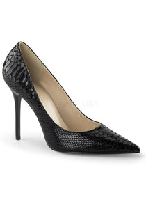 "4"" Pointed-Toe Snake Print Leather Pump"