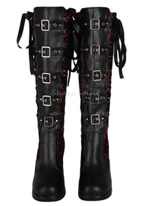 Corset Victorian Lace Up Military Combat Witch Womens Boots