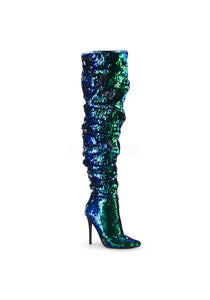 "5"" Ruched Sequined Thigh High Boot, 1/3 Side Zip"