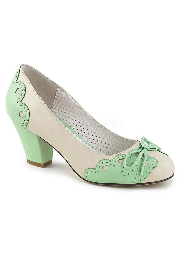 Cream & Mint Kawaii Shoes w Cuban Heel