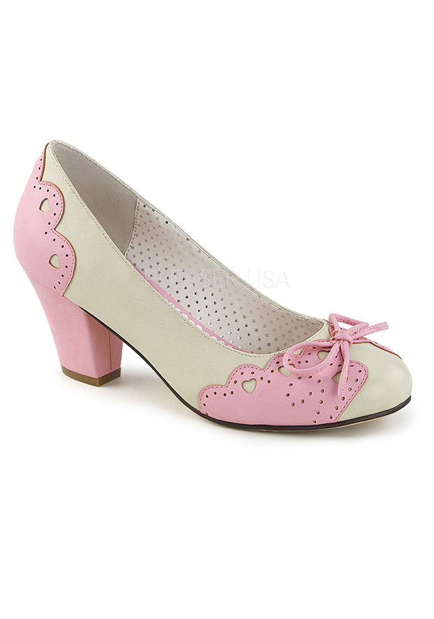 Cream w Pink Scalloped Heart Shoes