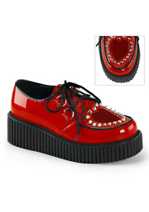 Red Pat Spiked Heart Shoes