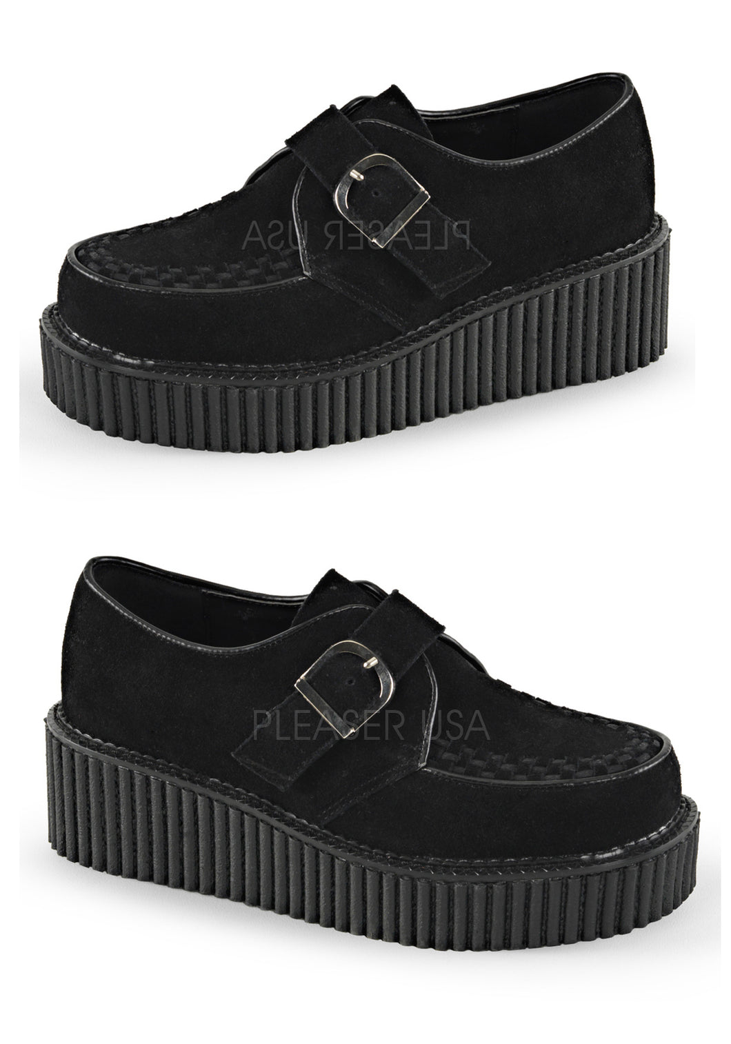 Black Vegan Suede Creeper Shoes