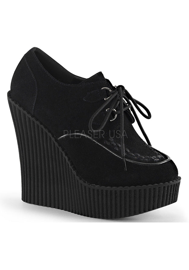 Black Vegan Suede Wedge Creeper