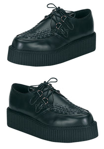 Black Leather Platform Creeper Shoes