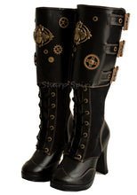 "Load image into Gallery viewer, 4"" Platform Steampunk Knee Boot Cog & Bee"