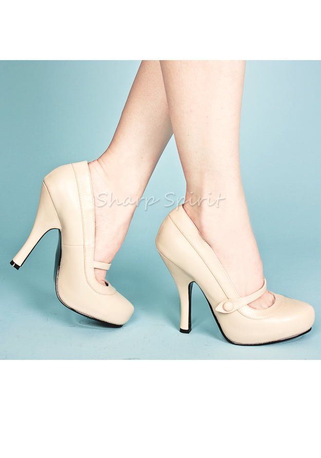 Cream Pu 1940s Mary Janes