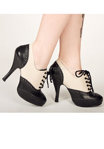 Cream & Black lace Up Booties