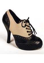 Load image into Gallery viewer, Cream & Black lace Up Booties