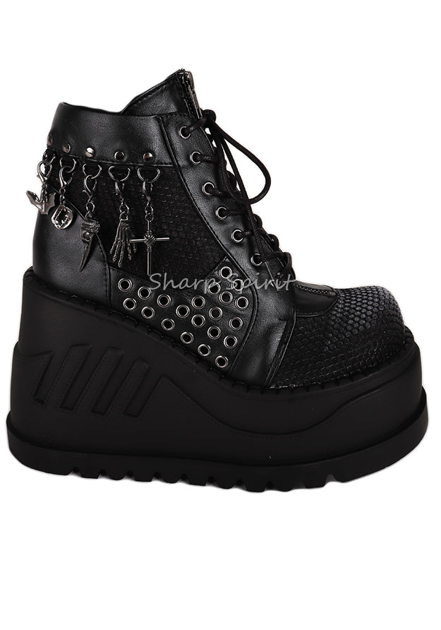 Cyber Gothic Sneaker Platform Lace Up Combat Womens Boots